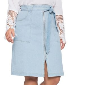 Belted A-line Denim Skirt by Eloquii Size 16